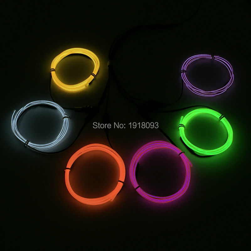 Hot! 2017 Fashion DC-3V Batteries Drive 6 pieces 2.3mm 1 Meter EL Wire led strip waterproof LED neon light Wedding decoration