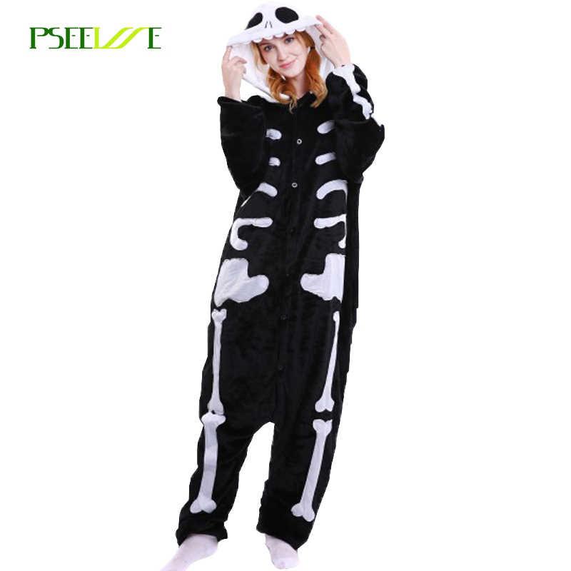 Пижамы женские фланель Скелет Череп пижамы Все в одном Pyjama животных Для  мужчин wo Для мужчин 54bd26fc278ab
