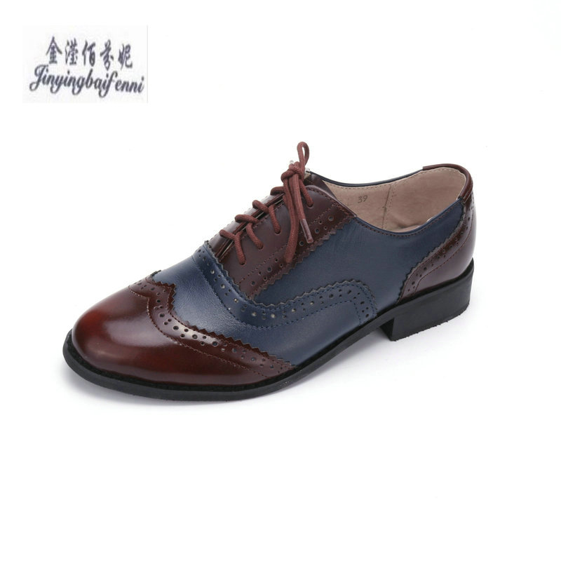 Detail Feedback Questions about Fashion Brand Women s Shoes Lace up Genuine  Leather Flat Oxfords Bullock Shoes Big Size Handmade Casual Shoes scarpe  donna ... e0cc2e0748d4