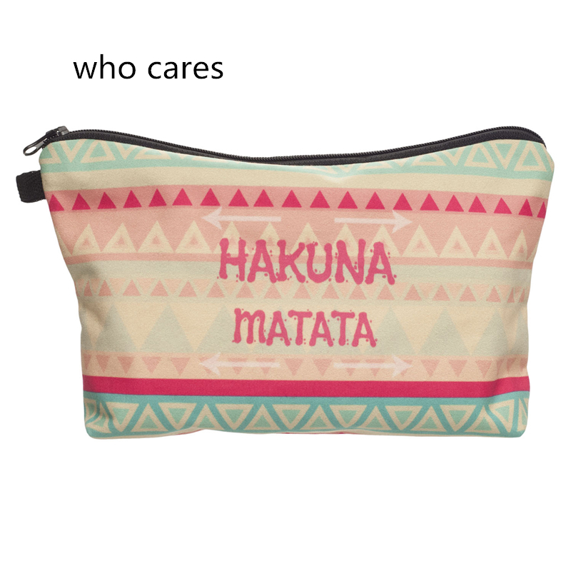 Who Cares Cosmetic Bag 3D Printing Hakuna Green Neceser Portable Make Up Bags Case Organizer Bolsa feminina Travel Toiletry Bag msq make up bag pink and portable cosmetic bags for professional makeup artist toiletry case new arrival