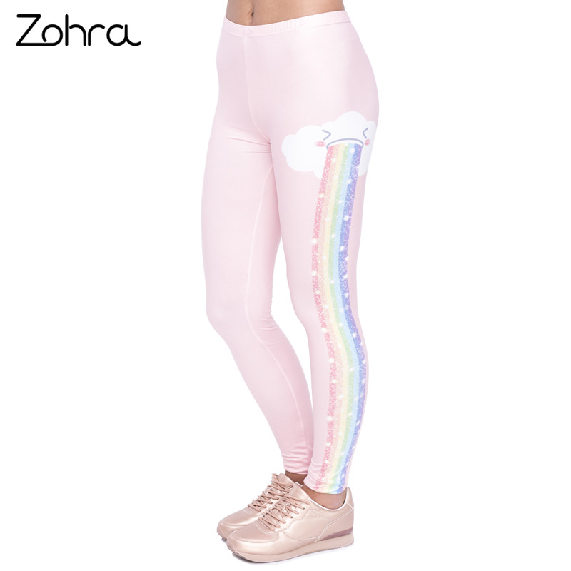 Zohra Elegant Design Women Legging Rainbow Rain Printing Fashion Kawaii Leggings High Wa ...