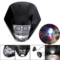 For Streetfighter Dirt Bike Universal Black LED Headlight MX Motocross Dual Sport Headlamp For Suzuki Honda Yamaha KTM SX EXC