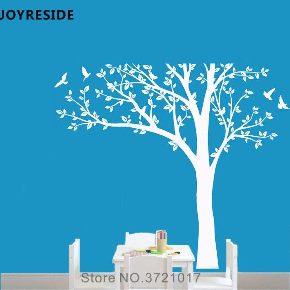 Joyeux oiseau volant arbre motif mur décalcomanie Lage arbre mur autocollant vinyle décor maison bébé chambre décor intérieur Design A854
