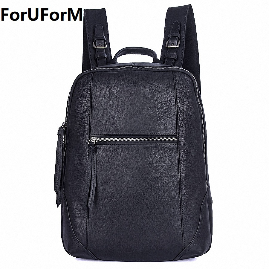 Men Backpack Genuine Leather Male Shoulder Bag Large Capacity Travel Bags For Man Trendy Business Laptop Bag School Bag LI-1992 14 15 15 6 inch flax linen laptop notebook backpack bags case school backpack for travel shopping climbing men women