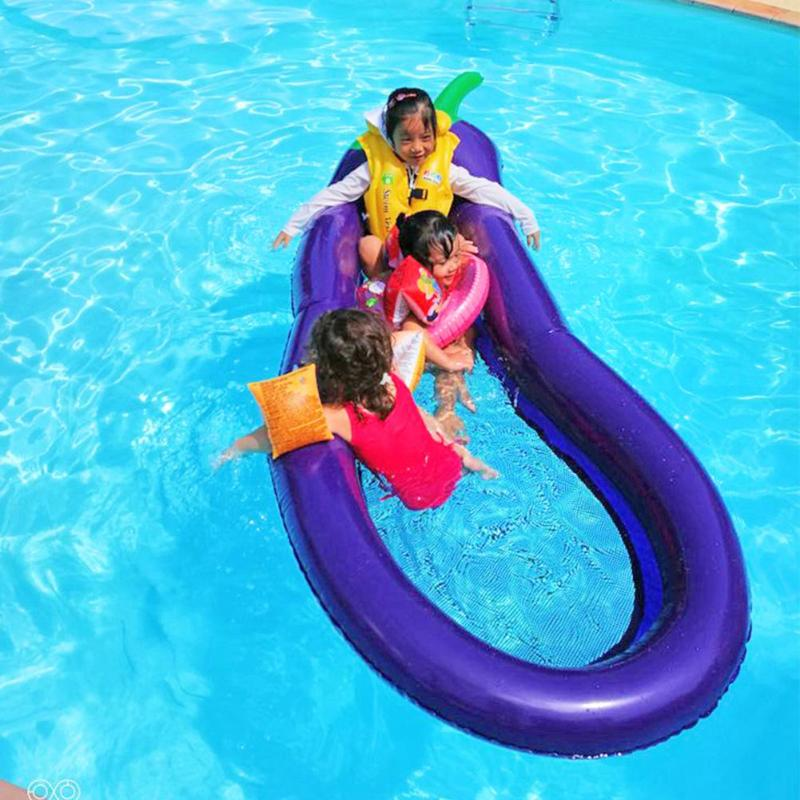 Inflatable Pool Float Circle Mattress Swimming Eggplant Swim Ring Seat Boat Raft Summer  ...