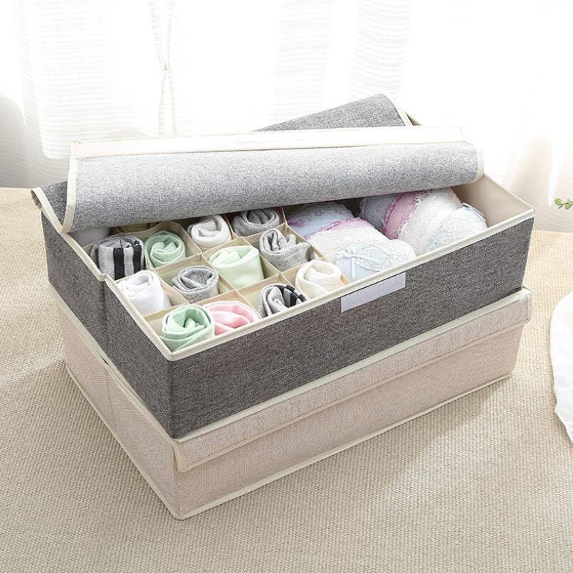 Image 3 - 17 Grid Underwear Holder Bra Travel Ser Organizer Cotton And Linen Closet Organizers Boxes Clothes Storage Bag High Capacity Box-in Drawer Organizers from Home & Garden