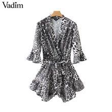 Vadim women V neck leopard print playsuits animal pattern elastic waist flare sleeve rompers female ruffled