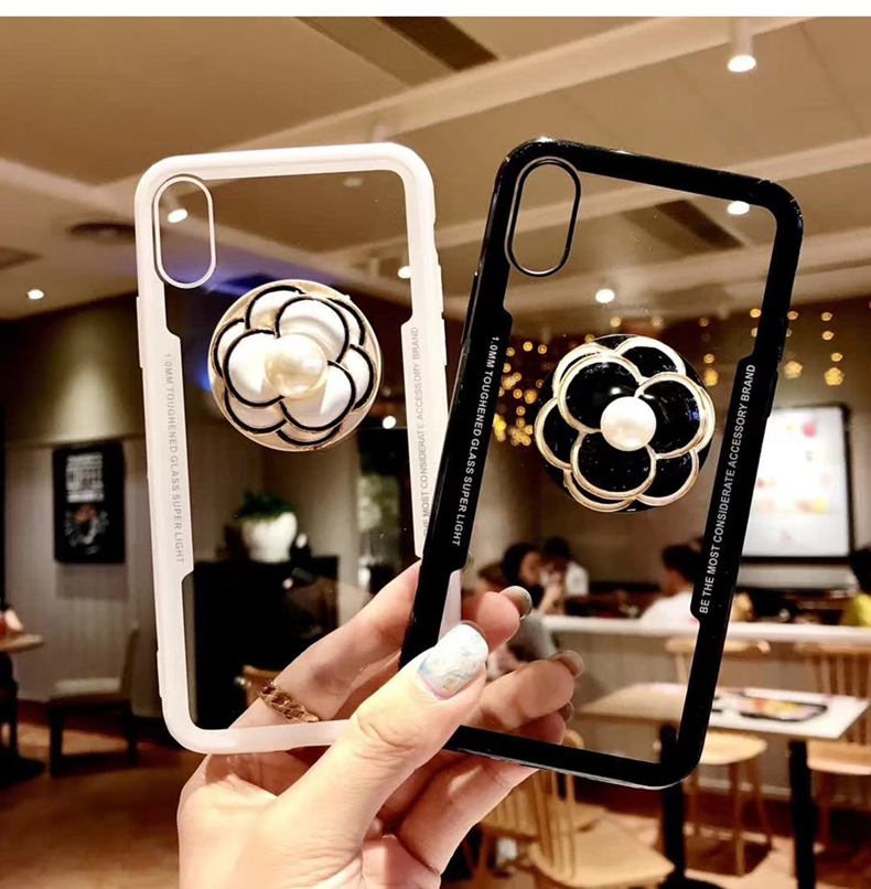 Luxury Diamond Pearl Flower Mobile Phone air bag Bracket Case For iPhone X XR  XS MAX 08d8ab8e07f5