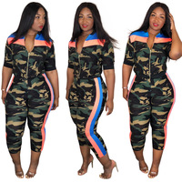 Green Camouflage Casual 3 Piece Set Women V Neck Crop Top+Front Zip Half Sleeve Coats+Side Striped Skinny Long Pants SQ7011