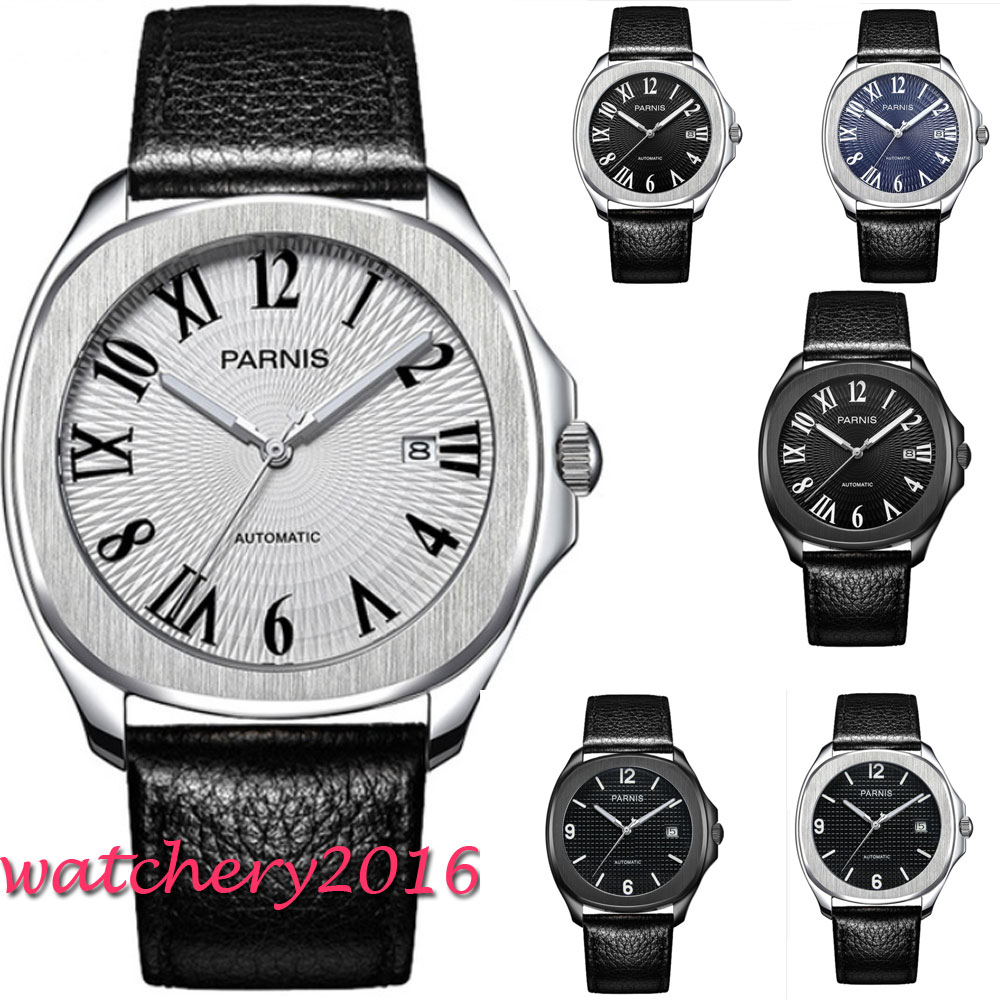 где купить 40mm Parnis Black Dial mens watches top brand luxury Sapphire Glass Date Super Luminous Miyota Automatic Movement men's Watch по лучшей цене