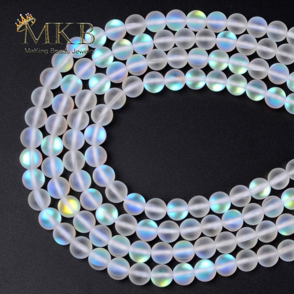 A+ Matte White AB Frosted Austrian Crystal Round Beads For Jewelry Making 6 8 10 12mm Glitter MoonStone Beads Diy Bracelet