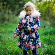 3-11 Years old girls winter coat design cotton kids jacket flower pattern velvet thick fur collar winter clothing Smaller 1 size