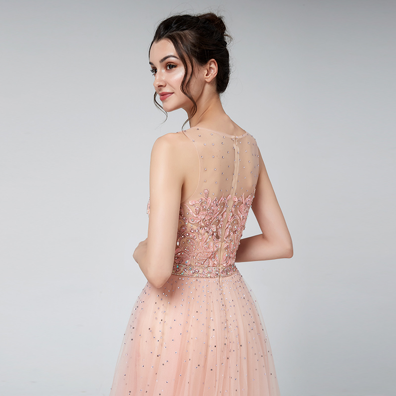 Купить с кэшбэком Elegant Evening Dresses Blush Dubai Arabic Tulle Beads Vestido Applique Formal Sleeveless Party Gown Women Robe De Soiree LSX576
