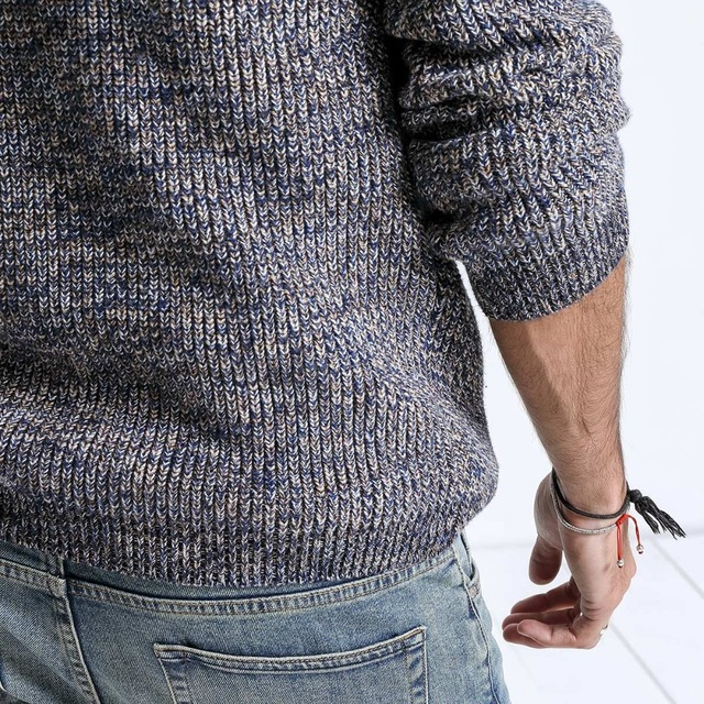 Fashion Knitted Sweater in floral gray