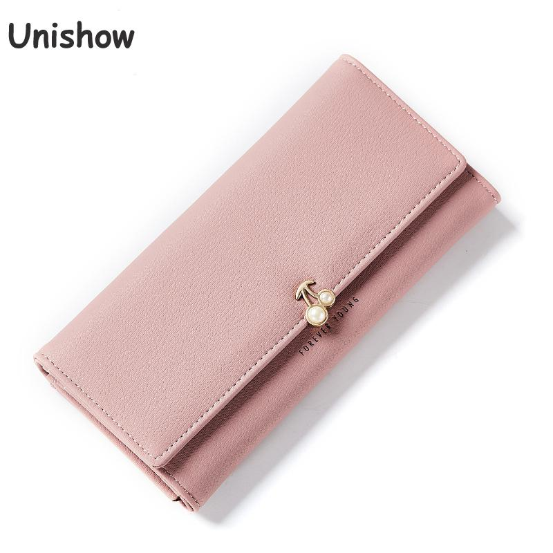 купить Unishow brand designed Pearl Women Wallet Simple Clutch Purse Lady Long Wallets Female Card Holder Purses Carteira Feminina по цене 536.5 рублей