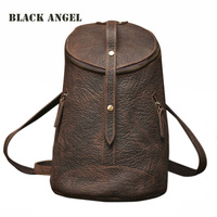 Vintage Genuine Leather Backpack Women Bag Fashion Designers Bucket Bag Crazy Horse Leather Shoulder Bag Unisex