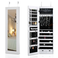 iKayaa Lockable Hanging Jewelry Cabinet Makeup Armoire Door/Wall Mounted Jewelry Storage Box Organizer Mirrored With LED Light