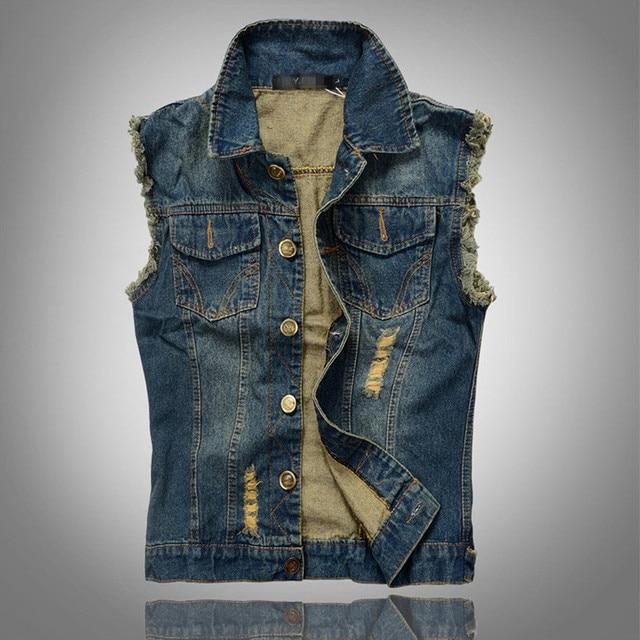 New Arrival Men's Denim Vest Brand Jeans Vest Men Cowboy Vest Denim Sleeveless Jacket Deep Blue color Plus Size Free Shipping
