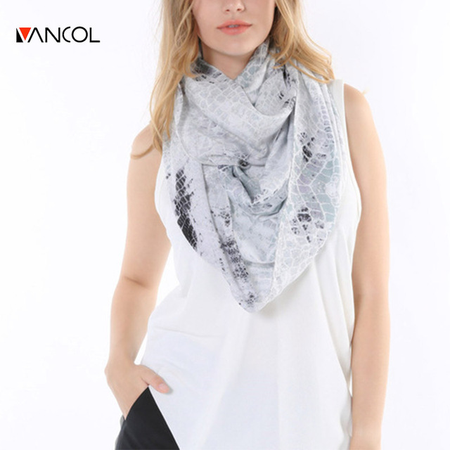 Vancol 2016 Spring Brand Design Chiffon White Black Loop Serpentine Foulard Femme Summer Infinity Snake Cotton Scarf for Women