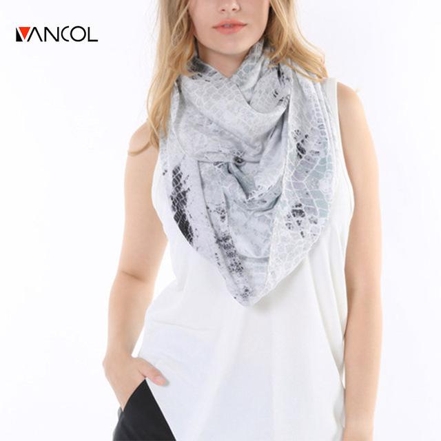 Vancol 2016 primavera marca projeto chiffon branco laço preto serpentina foulard femme verão infinito lenço de algodão para as mulheres de cobra