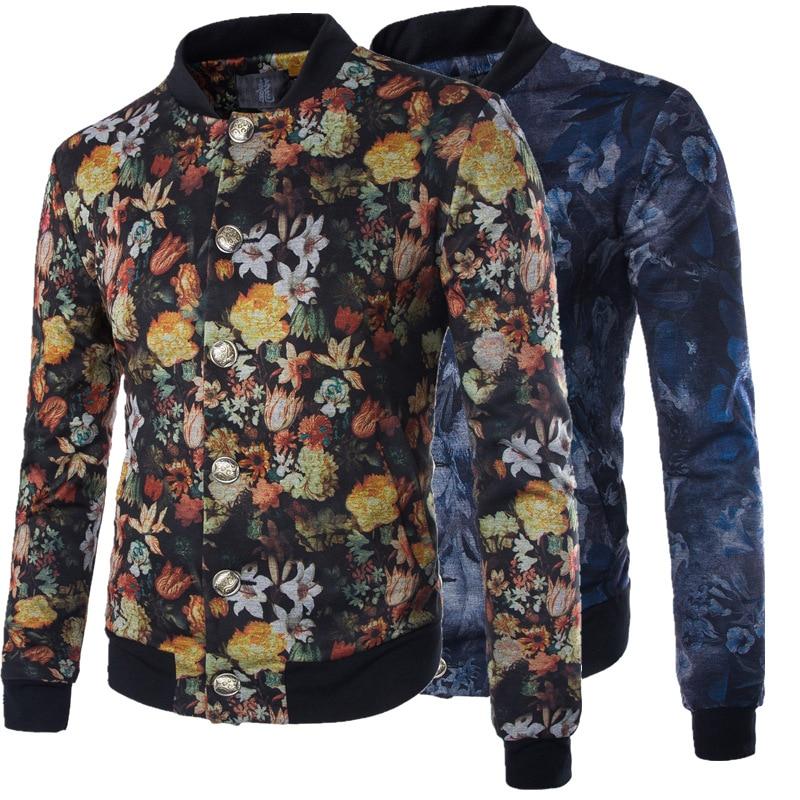 Yeni Erkekler Ceket Moda Slim Fit Boy 5XL Rahat Tek göğüslü Baskı Suit Erkekler Çiçek Ceket Jaquetas Masculinas JJ-Y203