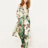 Runway Bohemian Sexy Kimono Blouse Women 2017 Summer Open Blouses Floral Print Pattern Fashion Elegant Long