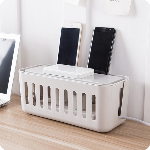 Household Table Top Power Cable Storage Box Power Strip Wire Storage  Organizer Earphone Wire Phone Charger