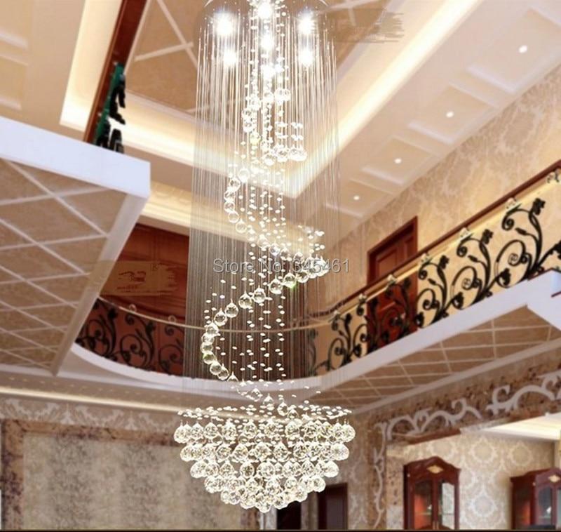 Led Modern Minimalist Duplex Staircase Chandelier Crystal