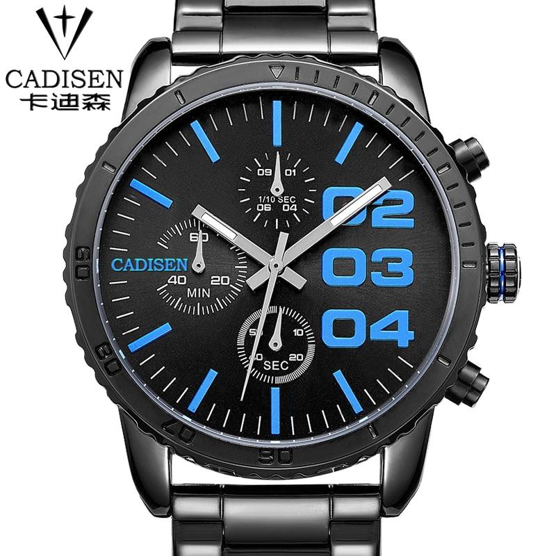 c9b9bbb9bfd Cadisen cadisen Negócios Relógios Homens Marca de luxo Militar dos homens  Relógios de Pulso de Aço Inoxidável Completa Quartz Watch Relogio Masculi
