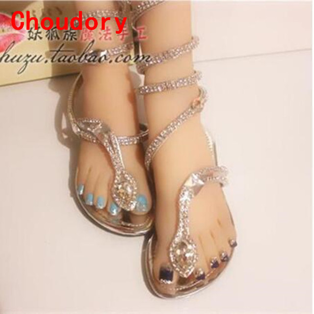 049cf5b970d Sapato Feminino Summer Sandles For Women Rhinestone Strappy Gladiator  Sandals Flip Flops Wedges Sliver Slippers Shoes Woman