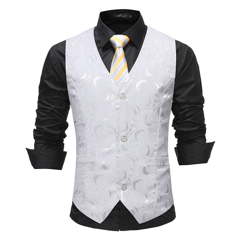 Mens White Floral Suit Vest 2019 Brand New Slim Fit Single Breasted Male Waistcoat Vest Men Groom Wedding Dress Vests Chaleco