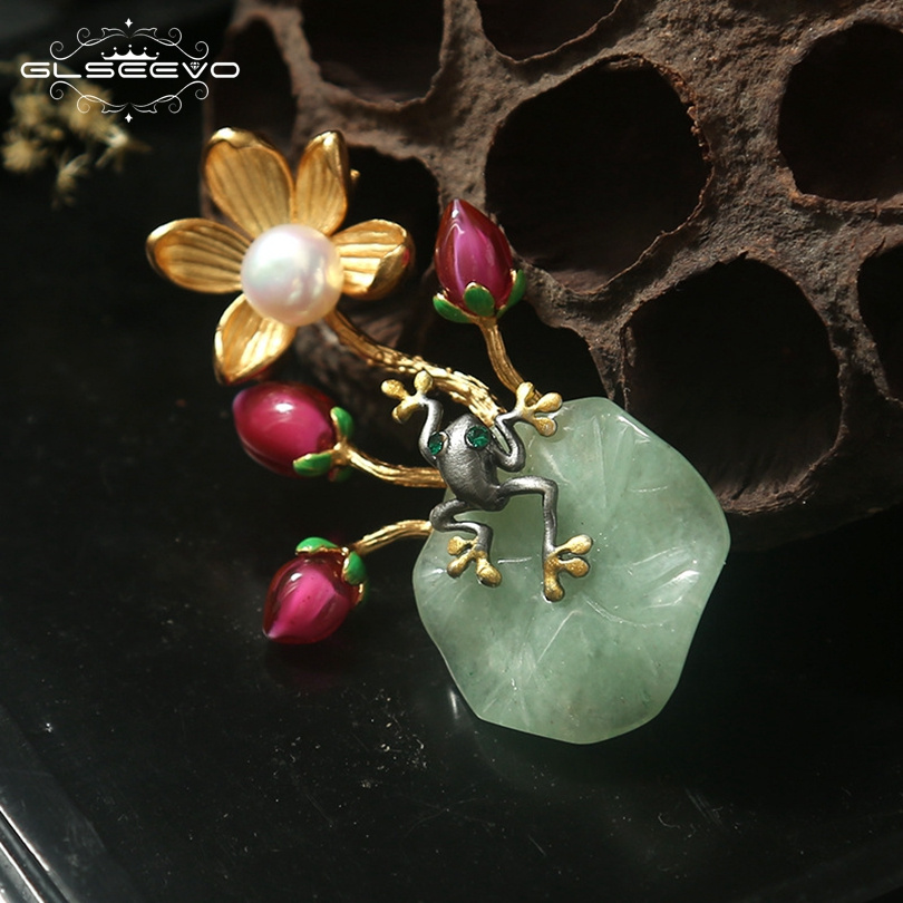 GLSEEVO Natural Fresh Water Pearl Aventurine For Women Frog Brooch Flower Pins And Brooches Dual Use Luxury Fine Jewelry GO0117 amxiu customized dual use brooch and pendant natural fritillary natural pearl brooches flower shape gold plated pins for women