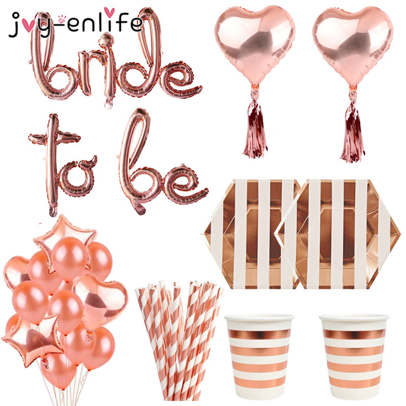 Team Bride to Be Hen Party Night Rose Gold Balloons Sashes Decoration Supply