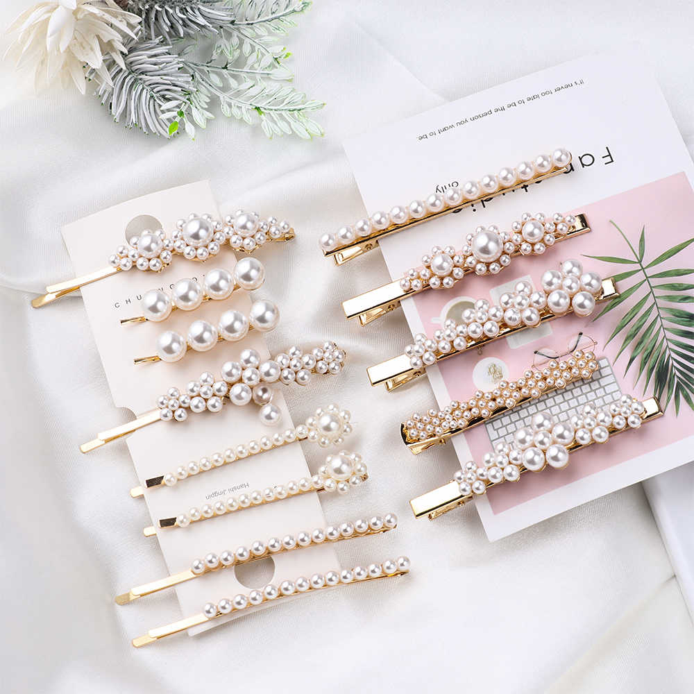 Korea Imitiation Pearl Flower Hairpins Vintage Long Barrettes Hair Clips Crystal Metal Hair Styling Accessories Hairgrip