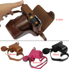 Novo luxo pu leather video camera case bag para fujifilm fuji xa3 xa-3 xa10 bateria câmera digital com cinta aberto