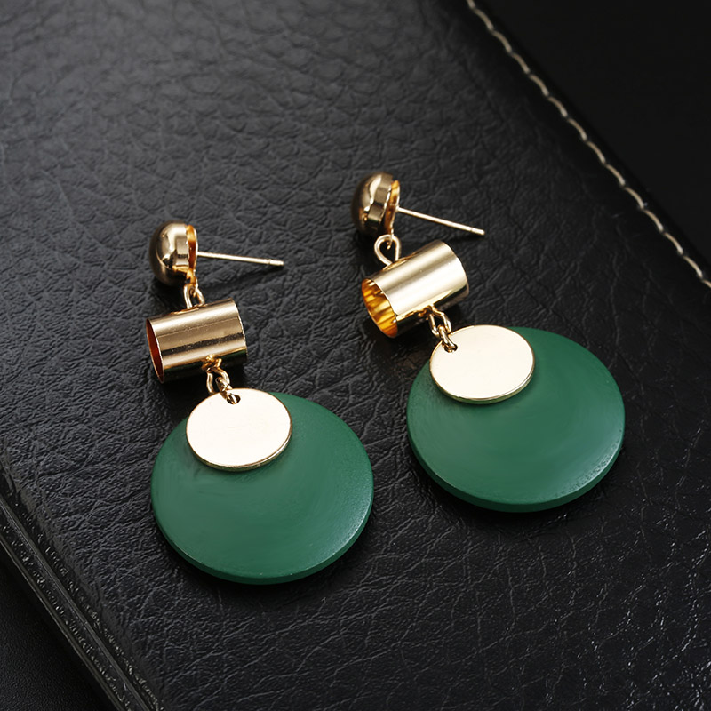 116 Fashion Statement Drop Round Wood Earrings for Women Geometry Hollow Alloy Dangle Earring Ethnic Jewelry Gifts