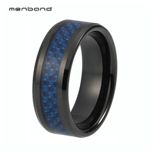 Wedding Rings For Men Tungsten Carbide Ring Band 8MM With Blue Carbon Fiber Inlay