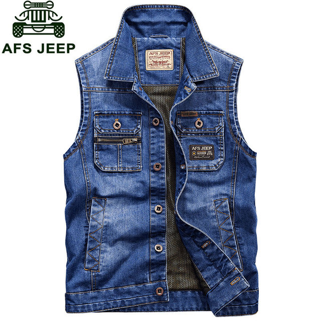2016 New Arrival Brand Clothing Men Denim Vest Jacket M~4XL Overcoat Slim Fit Casual Denim Jacket Coats CLOTHES Long Sleeve