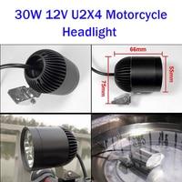 Huiermeimi 2pcs 30W 4*U2 12v led motorcycle headlight sportster spot head lights moto spotlights motorbike Decorative lamp DRL