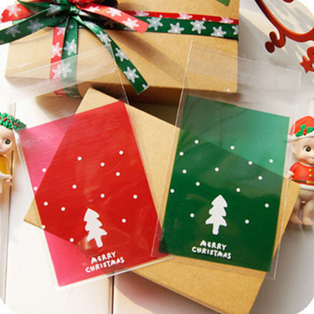 Us 1 98 16 Off 100pcs Lot 3 Color Christmas Cookies Bags Transparent Red Green Gold Christmas Tree Self Adhesive Bags Diy Gift Packaging Bag In Card