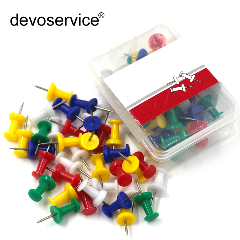 50Pcs/Pack Colored Pushpins Metal Thumb Map Drawing Push Pin