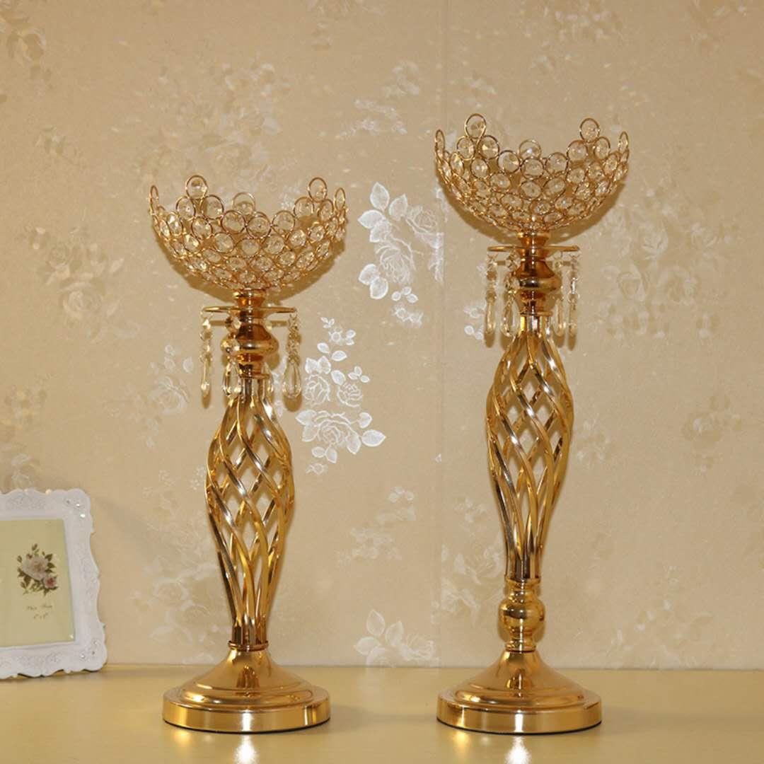 Cristal de mariage pièce maîtresse décoration porte-bougie doré en métal chandelier 49 cm 55 cm de haut mariage fête faveurs