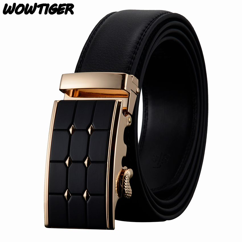WOWTIGER men s Automatic buckle fashion business Famous brand luxury belts cowhide leather belt