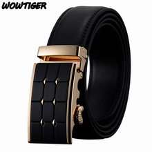 WOWTIGER men`s Automatic buckle fashion business Famous brand luxury belts cowhide leather belt