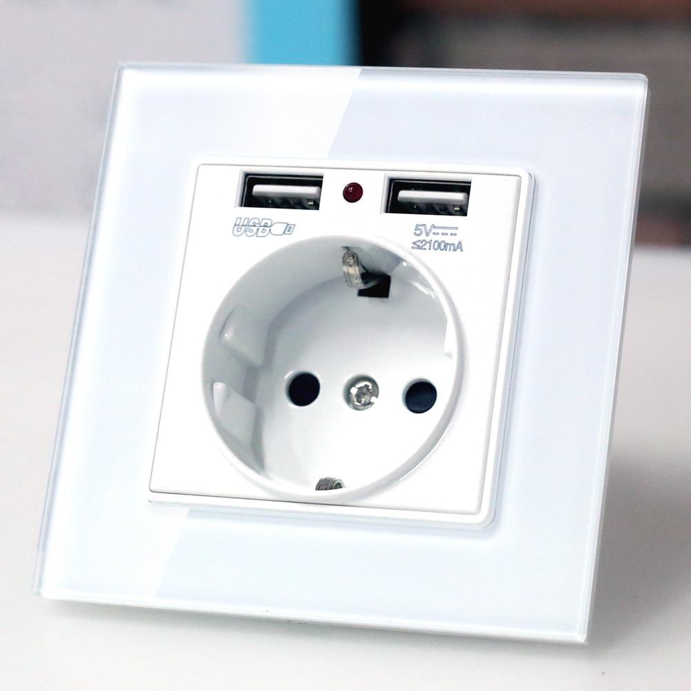 Prise de courant murale EU avec prise usb, verre 2A double prise de chargeur USB prise murale, 16A 2100ma prise de courant murale électrique