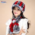 Winter Fashion Trendy Hats & Scarves Elegant New Arrival Rex Rabbit Fur Visors Cap Luxury Warm Hot Hat Scarf Set TC6