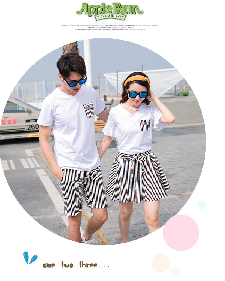 HTB1rUwKgeuSBuNjSsplq6ze8pXaK - Fashion Summer Family Matching Outfits White V Neck T - Shirt With Stripes Shorts/Skirts Mother Dad Son Daughter Clothes Sets