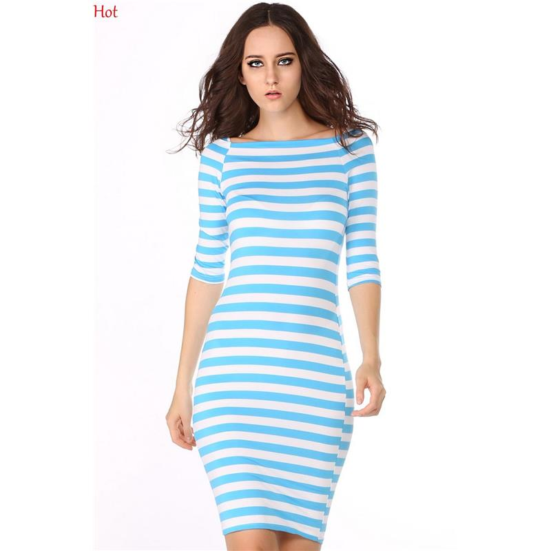 Hot Plus Size Women Dresses Slimming Work Party Striped Dress Womans