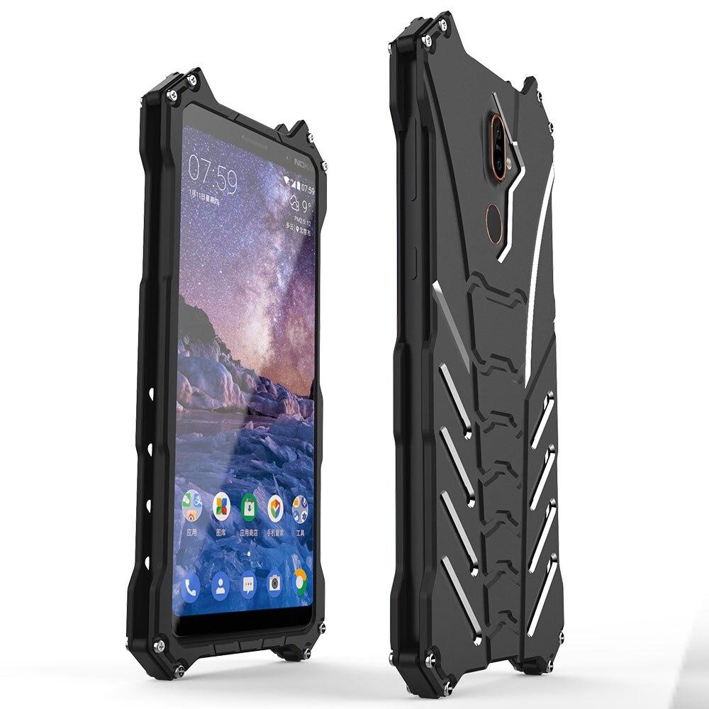 For Nokia 7plus Case Armor Heavy Dust Metal Aluminum CNC BATMAN Protect Skeleton Head Phone Shell Case Cover+bracket
