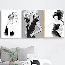 Watercolor Fashion Women Vogue Girl Nordic Poster And Prints Wall Art Canvas Painting Picture For Living Room Home Decor